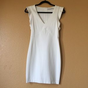 Zara Ruffle Sleeve White Dress - Medium